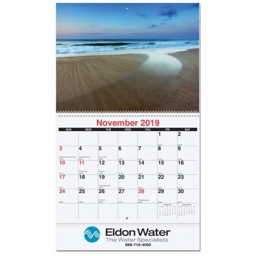 """American Coast Monthly Wall Calendar w/Coil Bound (10 5/8"""" x 18 1/4"""")"""
