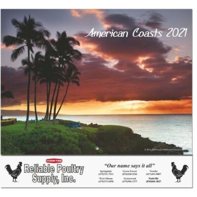 """American Coasts Monthly Wall Calendar w/Stapled (10 5/8"""" x 18 1/4"""")"""