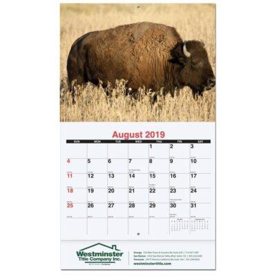 "American Wildlife Monthly Wall Calendar w/Staples (10 5/8"" x 18 1/4"")"