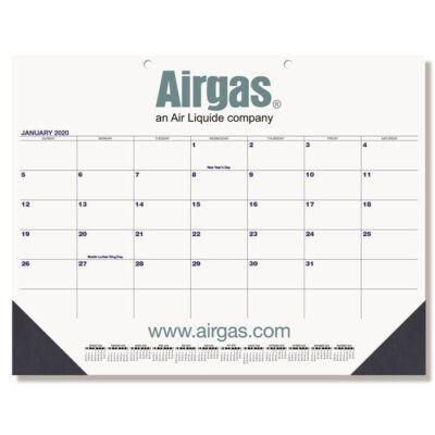 "Black & Black Calendar Desk Pad w/One Color Imprint (21 3/4"" x 17"")"