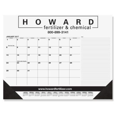 "Black Calendar Desk Pad w/Side Notes Line & One Color Imprint (21 3/4"" x 17"")"