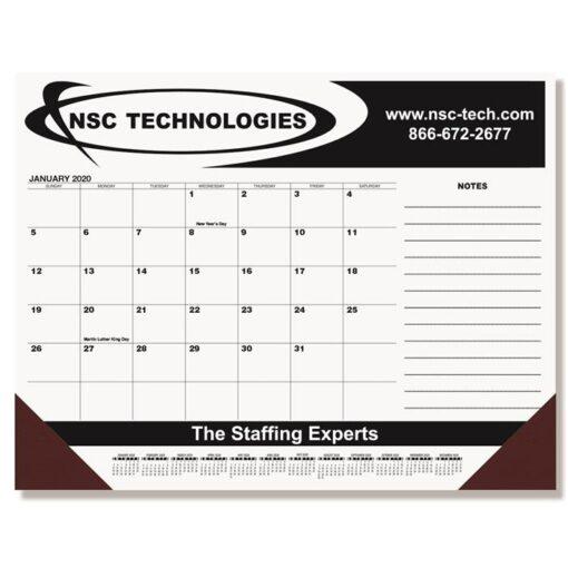 "Black Calendar Desk Pad w/Side Notes Line & Two Color Imprint (21 3/4"" x 17"")"