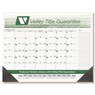 "Black Calendar Desk Pad w/Two Color Imprint (21 3/4"" x 17"")"