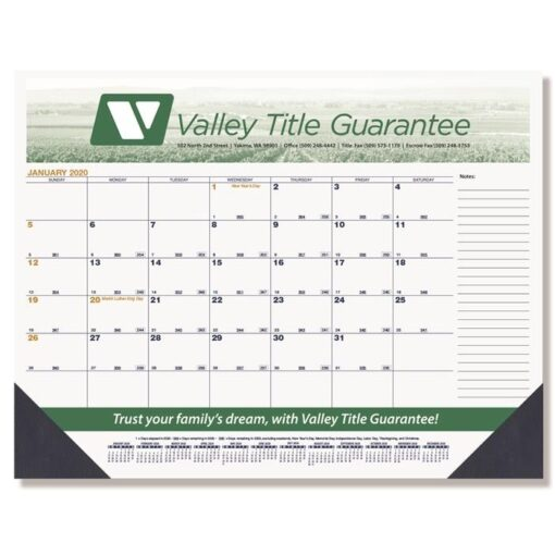 "Black & Gold Calendar Desk Pad w/One Color Imprint (21 3/4"" x 17"")"