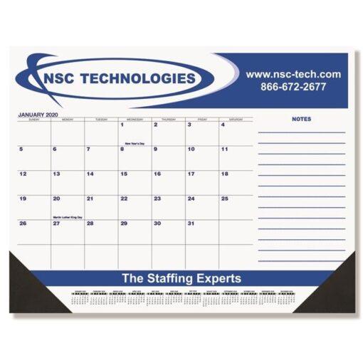 "Blue & Black Calendar Desk Pad w/Side Note Lines & One Color Imprint (21 3/4"" x 17"")"