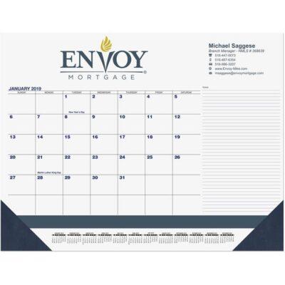 """Blue & Black Calendar Desk Pad w/Side Note Lines & Two Color Imprint (21 3/4"""" x 17"""")"""