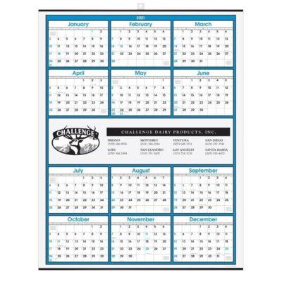 Blue Border Modern Yearly Calendar w/Center Imprint