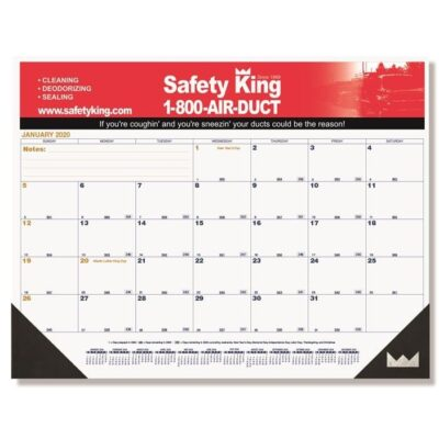 "Blue & Gold Calendar Desk Pad w/One Color Imprint (21 3/4"" x 17"")"