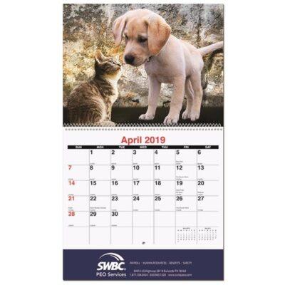 """Furever Friends Monthly Wall Calendar w/Coil Binding (10 5/8"""" x 18 1/4"""")"""