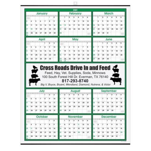 Green Border Modern Yearly Calendar w/Center Imprint