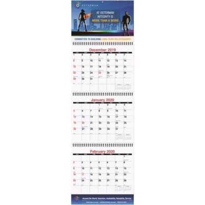 "Large Three Month at a Glance Calendar w/Apron (10 3/4"" x 35"")"