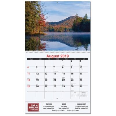 """Majestic Outdoors Monthly Wall Calendar w/Coil Bound (10 5/8"""" x 18 1/4"""")"""