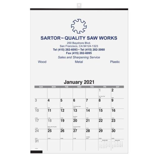 """Monthly Wall Calendar w/1 Image (12 1/4"""" x 18 1/2)"""