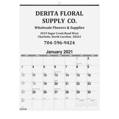 """Monthly Wall Calendar w/1 Image (18"""" x 25"""")"""