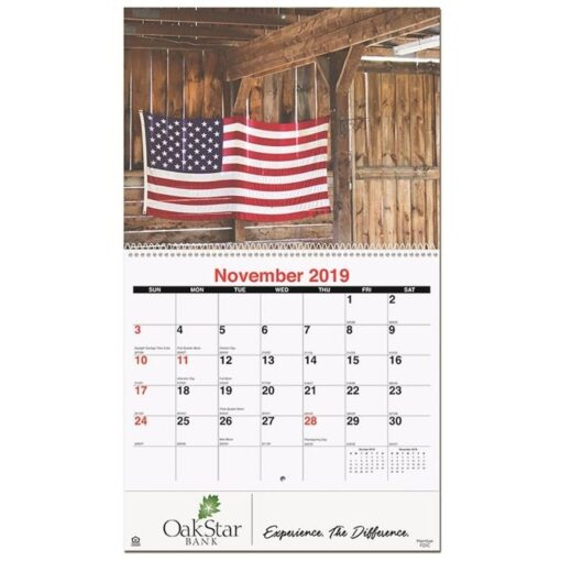 """Old Glory Monthly Wall Calendar w/Coil Binding (10 5/8"""" x 18 1/4"""")"""