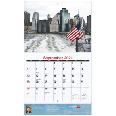 """Old Glory Monthly Wall Calendar w/Staples (10 5/8"""" x 18 1/4"""")"""