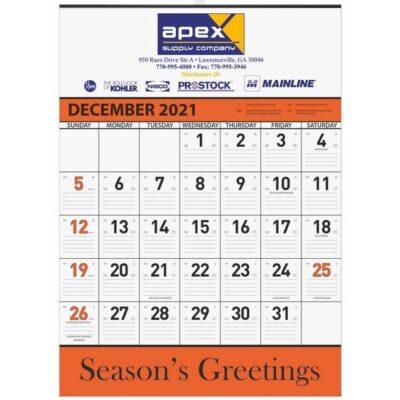 Orange Contractor Calendar w/ 1 Image and 1C Imprint