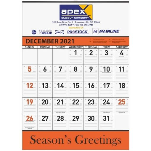 Orange Contractor Calendar w/ 1 Image and 2C Imprint