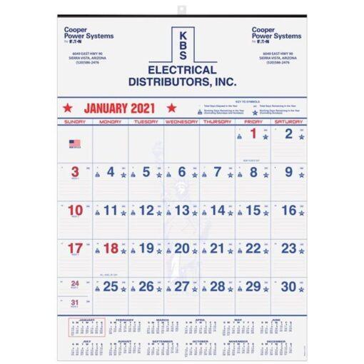 "Patriotic Red & Blue Contractor Calendar w/1 Image & 1C Imprint (18"" x 25"")"