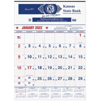 "Patriotic Red & Blue Contractor Calendar w/1 Image & 2C Imprint (18"" x 25"")"