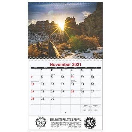"""Peaceful Peaks Monthly Wall Calendar w/Coil Binding (10 5/8"""" x 18 1/4"""")"""