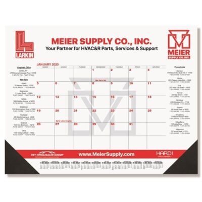 "Red & Black Calendar Desk Pad w/One Color Imprint (21 3/4"" x 17"")"