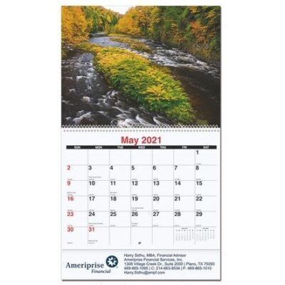 """Scenic Water Monthly Wall Calendar w/Coil Bound (10 5/8"""" x 18 1/4"""")"""