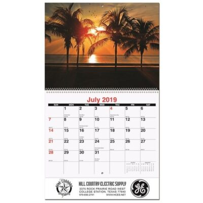 """Serene Sunsets Monthly Wall Calendar w/Coil Bound (10 5/8""""x 18 1/4"""")"""