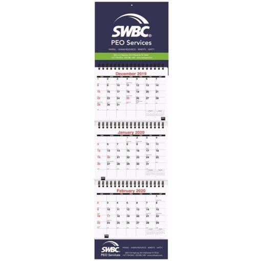 "Small Three Month at a Glance Calendar w/Apron (6"" x 20 3/4"")"