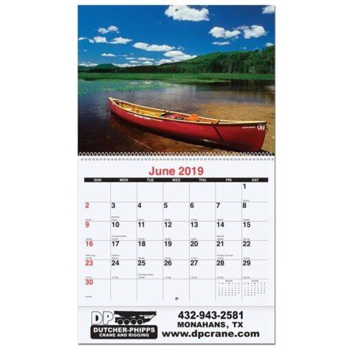 """Waterways Monthly Wall Calendar w/Coil Bound (10 5/8"""" x 18 1/4"""")"""