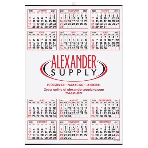 Year-at-a-Glance Calendar w/Center Imprint